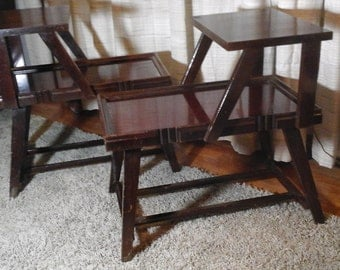"Two 50s End Tables, First ""Knock-Down"" Table, Sauder 1951 Design, Patented Ready to Assemble, Step Back, Two Tier Side Tables"