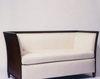 Mid century sofa , couch , settee , Mid mod with a touch of art deco Nyatoh wood and woven leather sofa/settee