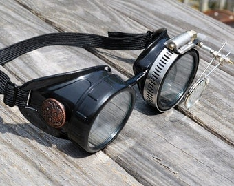 STEAMPUNK GOGGLES, Black with Clear Lenses, Copper Accents and Magnifying Loupes, Great for Halloween, Cosplay Costume or Birthday Gift