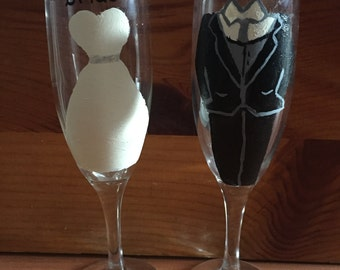 Bride and Groom Champagne Glass Set