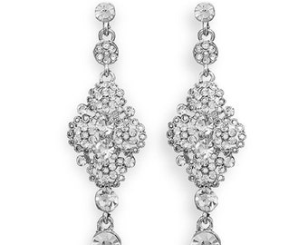 Vintage Silver Tone Crystal Fashion Earrings