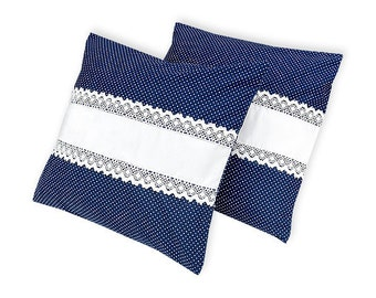KraftKids pillow - white dots on dark blue and white
