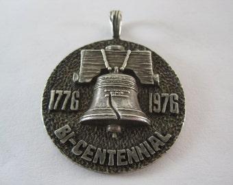 Vintage Sterling Silver Bicentennial Pendant Medallion HEAVY!