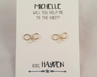 will you help me tie the knot/thanks for helping me tie the knot hair earrings // custom