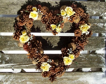 Wreath.  Heart Pine Cone Wreath With Yellow Silk Roses.  Door Wreath, Wall Decor, Valentine, Mother's Day, Gifts, Pinecone Wreath.