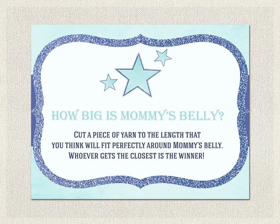 MOMMYu0027S BELLY How Big Is Moms Belly | Baby Shower Games Blue Glitter Stars  | Mommy Baby Bump Guess | Boy Baby Shower Bs 156