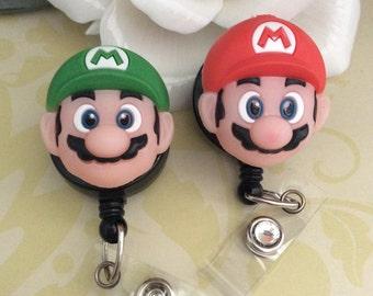 Super Mario Red / Green Retractable ID Badge Reel, Nurse Badge Reel