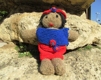 Digital download how to tutorial pdf file knitted red blue doll pattern