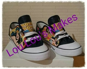 Wonderwoman canvas shoes - Handmade