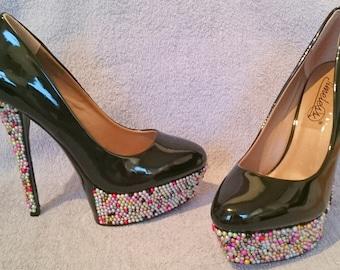 Bead Deisgn High Heel Shoes