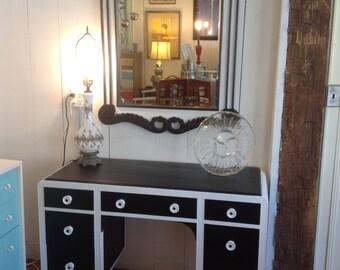 Black and white Art Deco desk/vanity with mirror