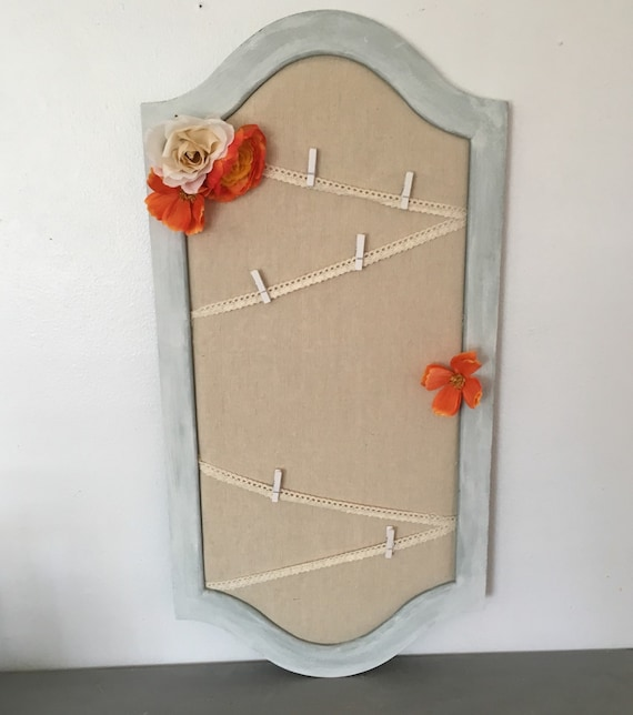 Shabby chic bulletin board linen board pin board by for Linen cork board