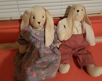 Vintage handmade bunnies crafted rabbits