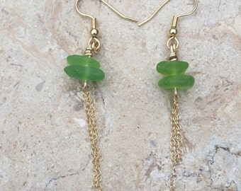 Dangle Sea Glass Earrings