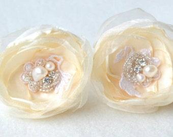 Cream and ivory hair flowers x2 freshwater pearl bridal bridesmaid hair accessories, handmade bridal hair flowers