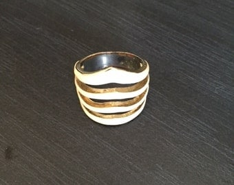 White and Gold Womans Fashion Ring