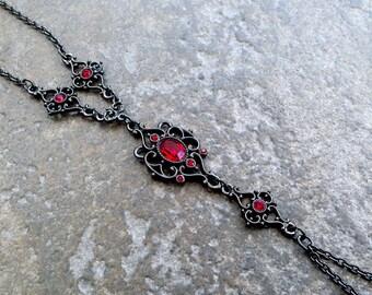 VICTORIAN Hand Chain - Gunmetal + Ruby Red