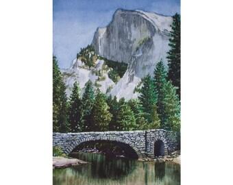Giclée Fine Art Print - Watercolor - Yosemite - Half Dome from the Stoneman Bridge