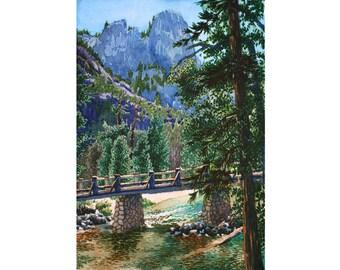 Yosemite - Note Card - Giclee - Bridge at Sentinel Rock