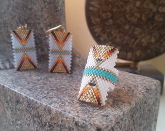 Earring and ring Aztec weaving miyuki fine glass beads