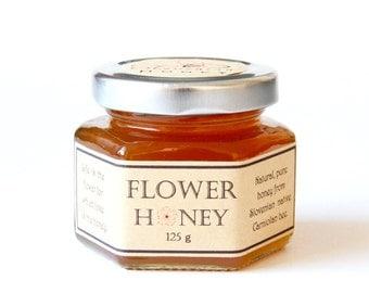FLOWER honey 4.4oz/125gr/Slovenian natural,pure honey/Raw honey/honey bee/Glass jar/flower and honey/wildflower natural honey