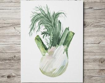 Greens poster Food print Watercolor print Kitchen decor ACW607