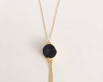 Gold Plated Long Black Natural Stone Necklace