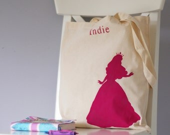 Princess personalised reusable cotton tote bag. Book bag, wet play bag, back to school bag, girl PE kit, gift for her