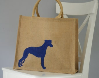 Whippet dog hand painted jute shopping bag- large. Burlap gift bag, hessian dog tote bag, dog silhouette. Dog lover gift. Whippet gift