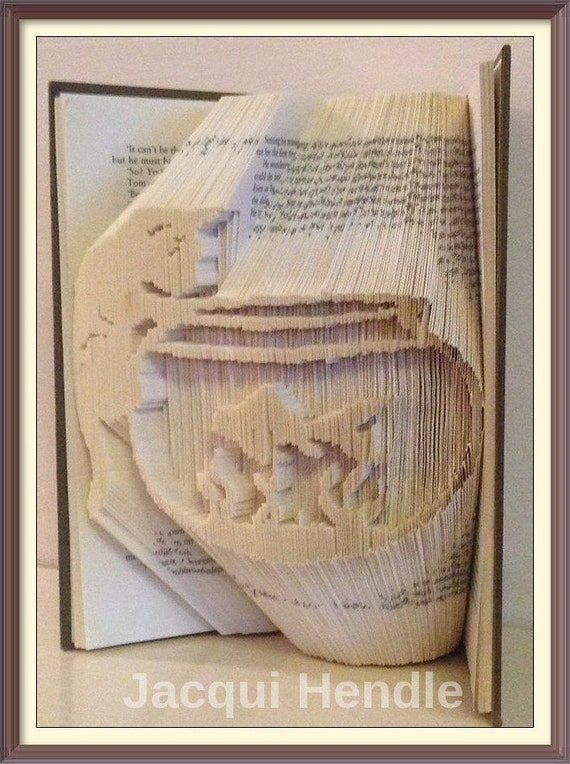 B26 book folding pattern cat gold fish fish bowl for Book with fish bowl on cover
