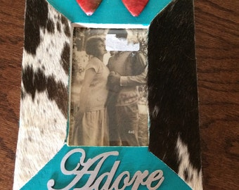 Picture frame with cowhide