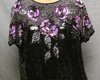 VINTAGE 80's beaded sequin MARQUIS by RANDALL cosco silk  top blouse sz large black