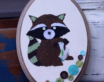 Cute as a Button Raccoon Wall Hanging, Wall Decor, Home Decor