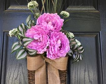 Purple lavender peony summer door hanger basket - wreath alternative