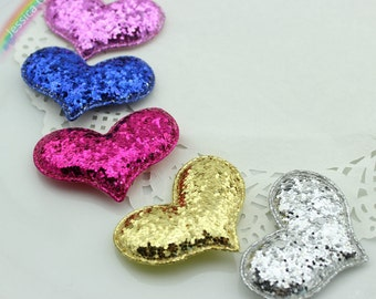 10 pcs Glitter Sequin Heart Patches Handmade Heart Shape Applique Patches 55*40mm Headband Flower Wedding Gift Party Decor DIY Craft Supply