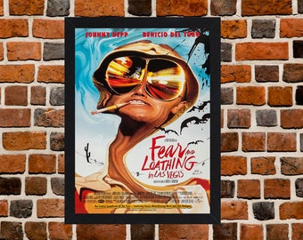 Framed Fear and Loathing in Las Vegas Johnny Depp Movie / Film Poster A3 Size Mounted In Black Or White Frame