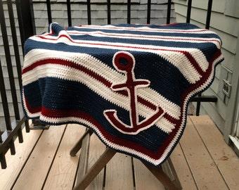 Handmade Nautical Crochet Blanket
