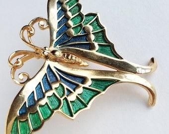Napier Butterfly Brooch / Gold Butterfly Brooch / Vintage Butterfly Pin/Green and Blue enamel brooch
