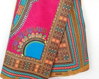 Pink with light blue Dashiki Fabric/ Dashiki/ Dashiki print/ Dashiki dress/Ankara Fabric / Wax Print / African Cloth/ kente/ kente cloth