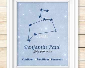 Astrology nursery wall art for babies, personalized constellation print, zodiac wall art for kids, personalized nursery art, star sign print
