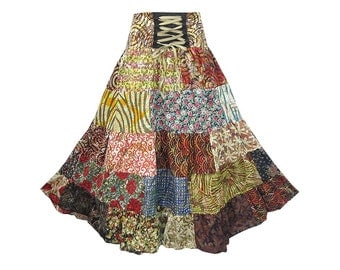 Boho Hippie Cotton Patchwork 5-Tier Broomstick Skirt  (M0759)