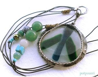 Glass Tile pendant / fusing Caboschon / Tiffanytechnik / jade/Hematite/howlith/chain