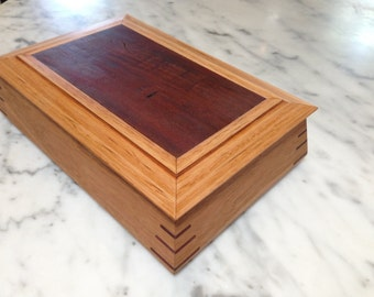 Jewellery or Keepsake Box with Contour Sides  - Victorian Ash and Red Gum