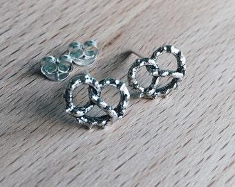 Pretzel ear studs, Sterling silver pretzel ear studs, Silver pretzel earrings, Tiny pretzel ear studs, Funky studs (ES152)