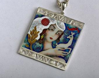 FREE SHIPPING silver cloisonne enamel necklace.  jewelry pendant woman with roe, Lado Gudiashvili