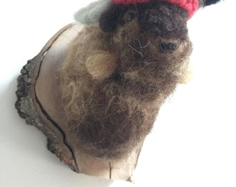 Needle Felted Buffalo / Bison Sculpture - Wall Hanging