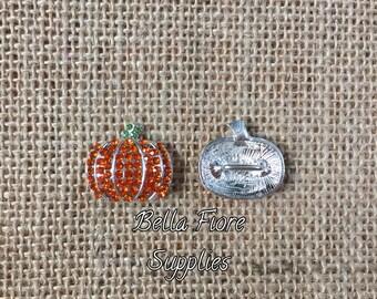 Orange Pumpkin Rhinestone Button, Pumpkin Embellishment- Halloween Button- Halloween Embellishment