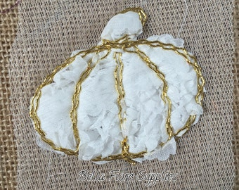 White Gold Pumpkin Shabby Trim-3 inch- Shabby Chiffon Pumpkins- Halloween Shabby Trim- Wholesale-DIY Headband Supplies