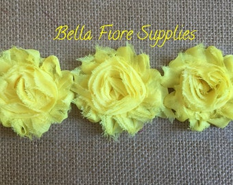 Yellow  Shabby Chiffon Rose Trim-2.5 inch- Shabby Chiffon Flowers- Wholesale-