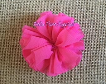 Hot Pink Ballerina Chiffon Flowers, 2.5 inch, Chiffon Flowers, Wholesale, DIY, Chiffon Headband